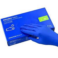 Перчатки медицинские защитные нитриловые синие Nitrylex S