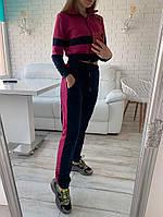 Спортивний костюм жіночий з двухнити,висока посадка штанів. укорочений топ на блискавці(42-48)