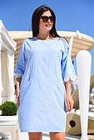 Женское льняное платье свободного кроя под пояс с карманами, с кружевом(42-50), фото 1