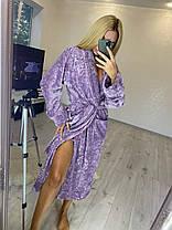 Теплый длинный махровый халат для дома в цветочек батал, фото 3
