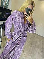 Теплый длинный махровый халат для дома в цветочек батал, фото 2