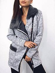 Кардиган женский теплый на молнии вязаная ангора на меху с карманами