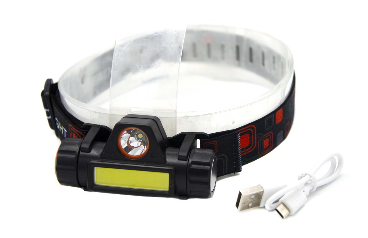 Фонарь Bailong BL-8101/ Акк./LED+COB / Крепление на голову / MicroUSB
