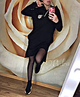 Стильное спортивное платье-туника с капюшоном , два разреза по бокам, спереди короче, сзади длиннее(42-46), фото 1