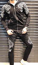 Мужской спортивный костюм, двунить, р-р 48; 50; 52; 54 (чёрный)