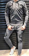 Мужской спортивный костюм, двунить, р-р 48; 50; 52; 54 (тёмно-серый)