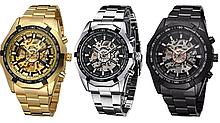 Механические мужские часы Winner Skeleton серебро качество превыше всего