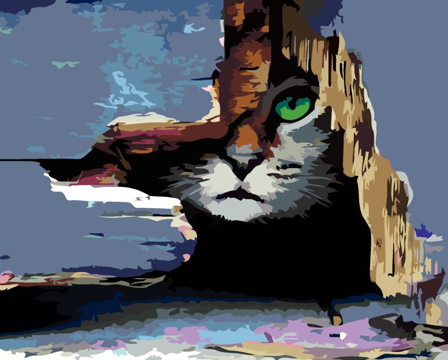 """Картина по номерам. Rosa """"Кот в засаде"""" 35х45см N00013212"""