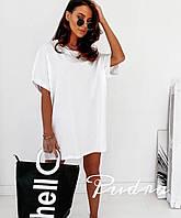 Повседневно женское платье футболка из х/б, свободный крой (42-46), фото 1