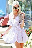Стильне плаття-халат рюш в горошок на запах,на внутрішній зав'язці і зовнішнім поясом,талія на гумці(42-46), фото 1