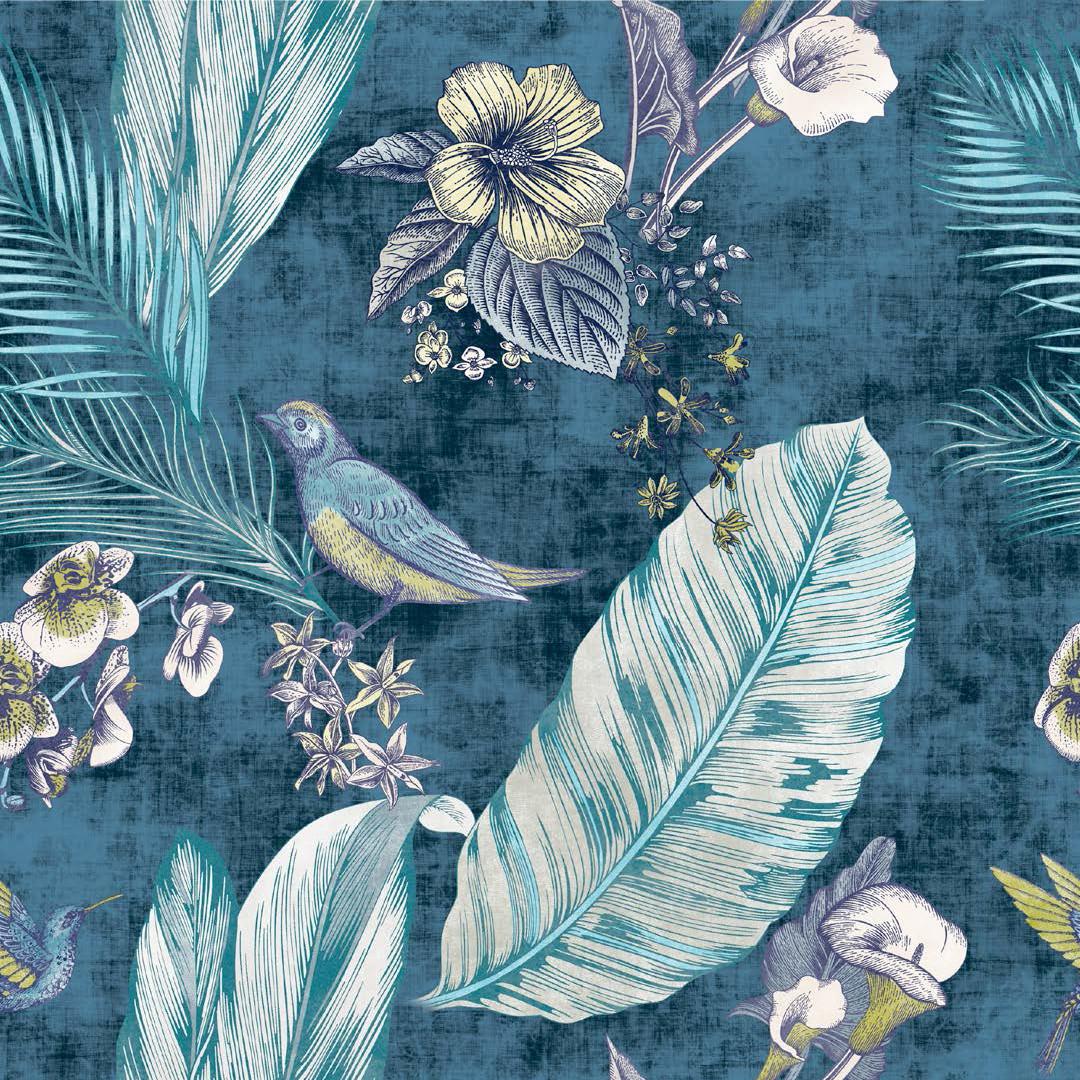 Меблева тканина Bohemia Blue 381170/2009, велюр з принтом