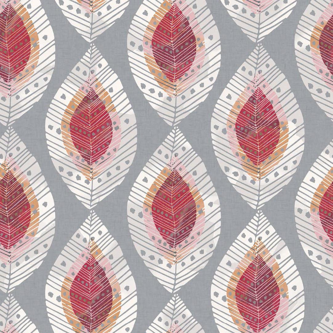 Мебельная ткань Fjell Leaf Cherry 381128/2007, велюр з принтом