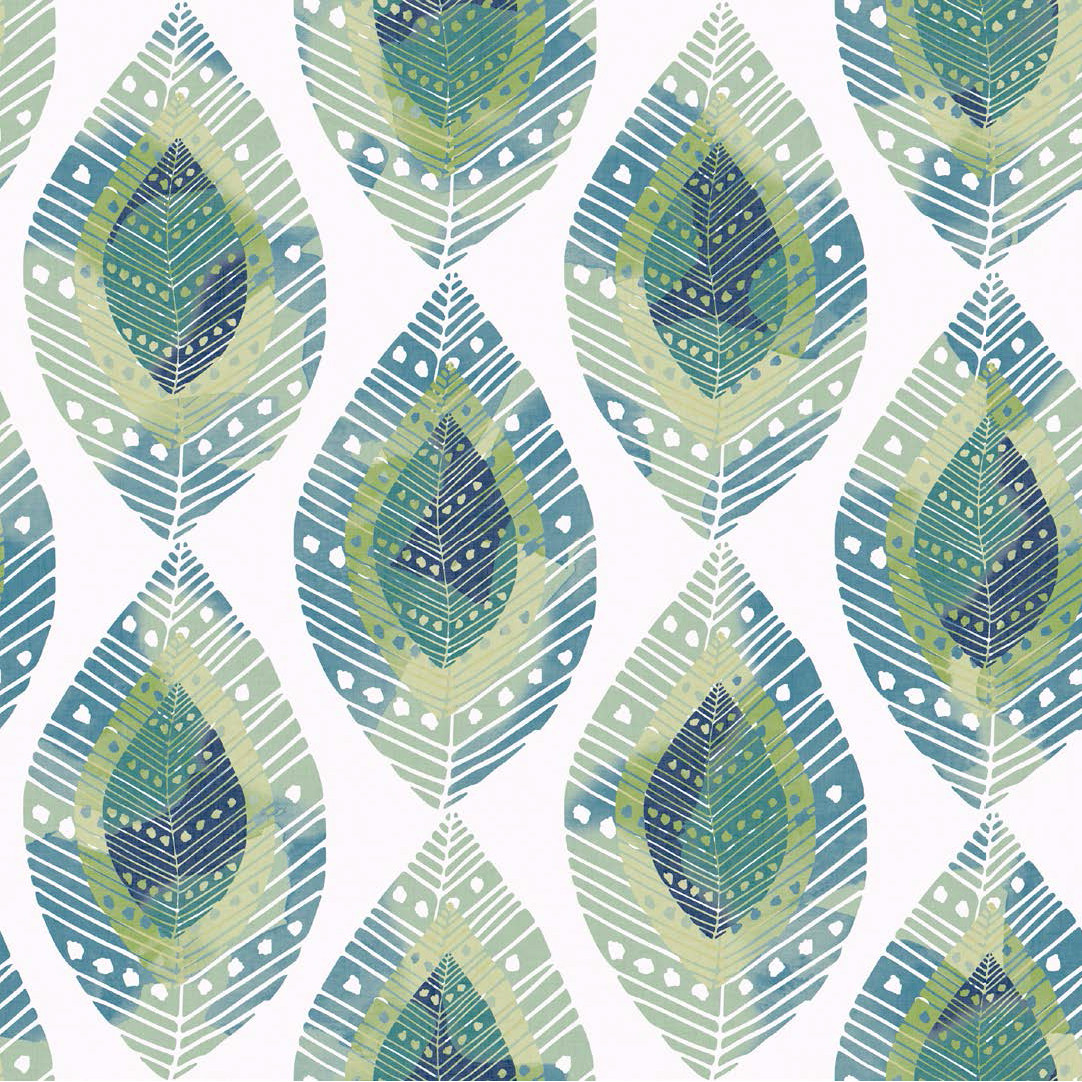 Мебельная ткань Fjell Leaf Lime 381128/2003, велюр з принтом