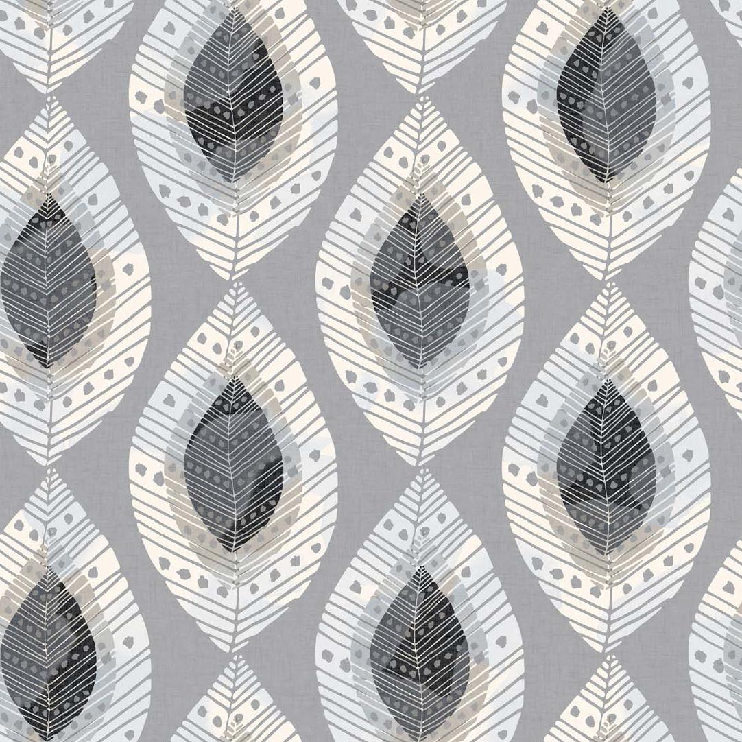 Мебельная ткань Fjell Leaf Silver 381128/2009, велюр з принтом