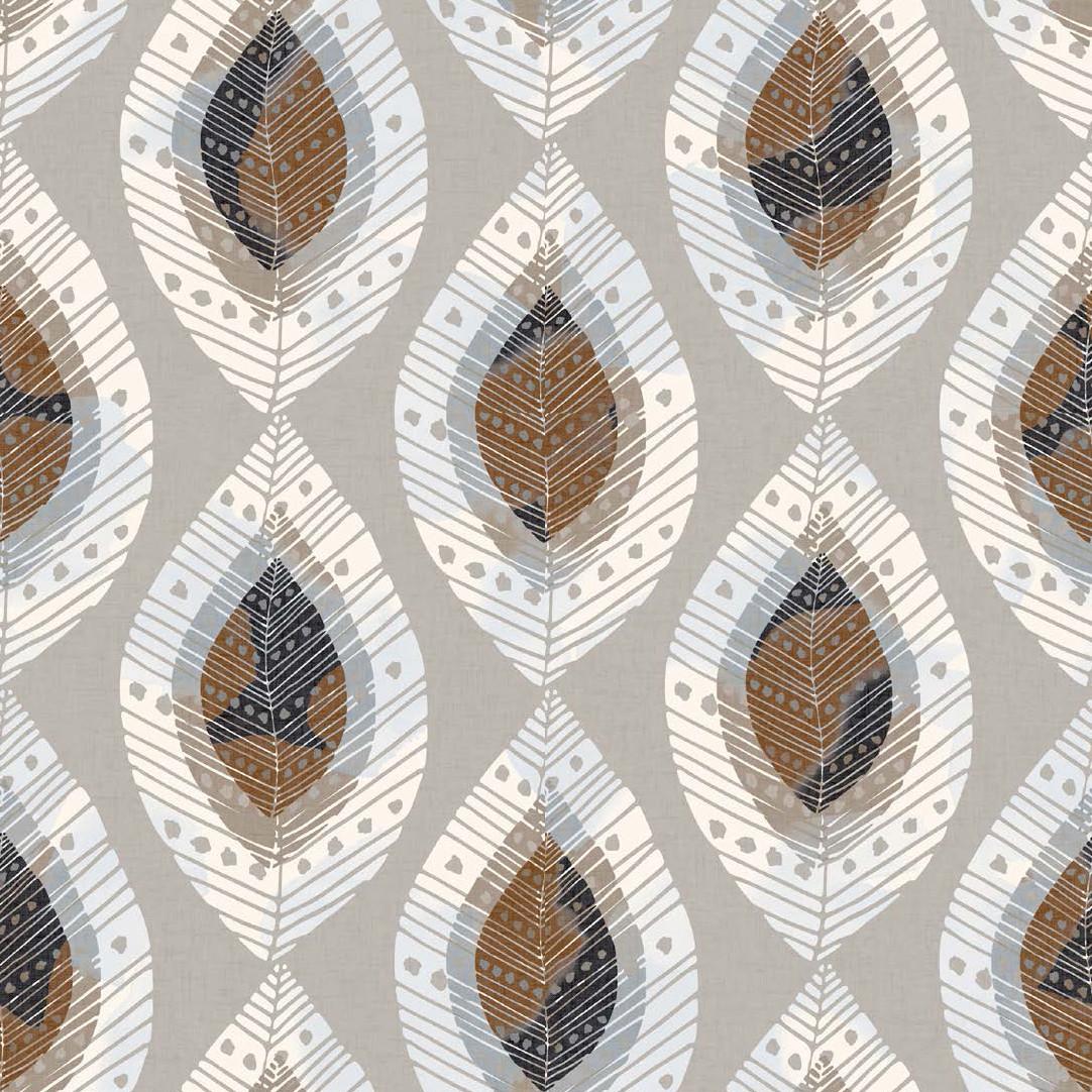 Мебельная ткань Fjell Leaf Stone 381128/2010, велюр з принтом