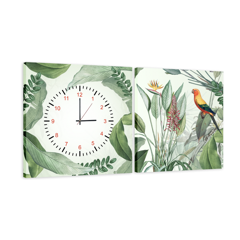 Часы модульная картина Птичка, растения 29*60 см