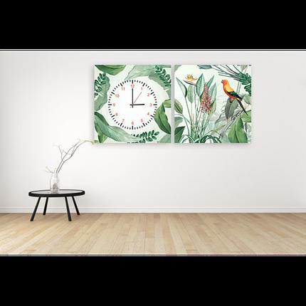 Часы модульная картина Птичка, растения 29*60 см, фото 2
