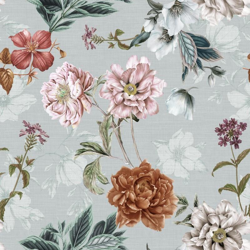 Мебельная ткань Flowers Aqua 390416/004, велюр з принтом