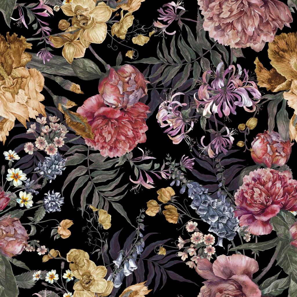 Мебельная ткань Flowers Black 390959/006, велюр з принтом