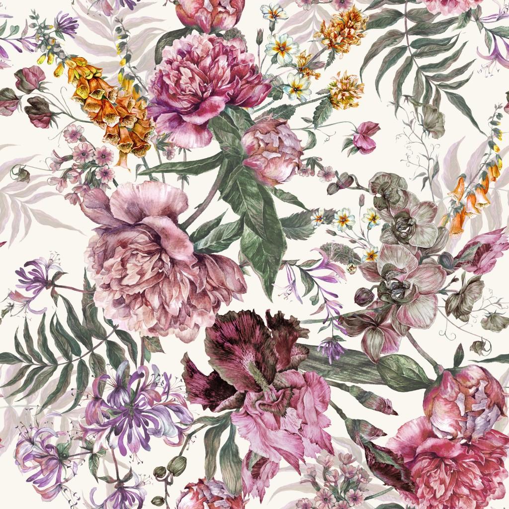 Мебельная ткань Flowers Ivory 391224/103, велюр з принтом