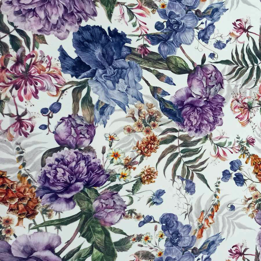 Мебельная ткань Flowers Lilac 391224/105, велюр з принтом