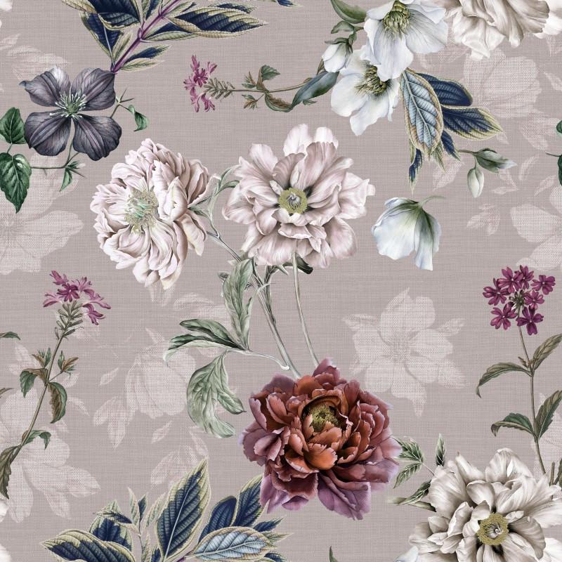 Мебельная ткань Flowers Stone 390416/002, велюр з принтом