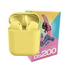 Беспроводные сенсорные наушники i12 TWS DS 200 Headset / Цвет - Желтые