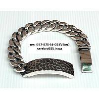 Серебряный мужской браслет панцирный панцирь с пластиной