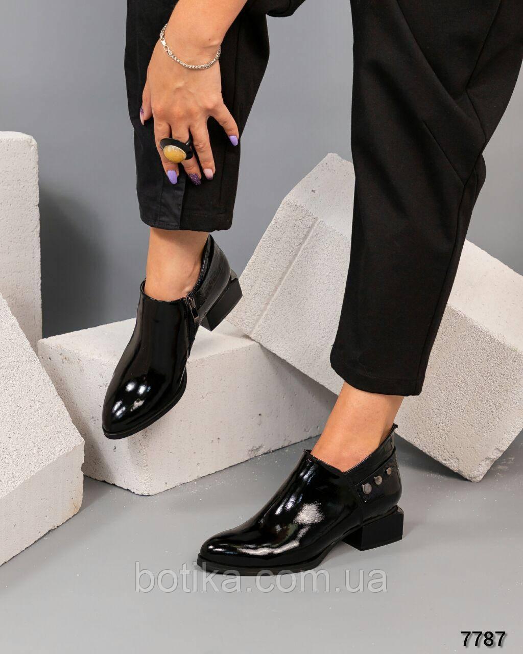 Шикарные демисезонные ботильоны на каблуке черные ботинки женские