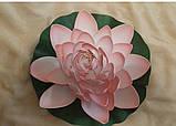 Цветок Лотоса декоративный плавающий большой 27 х27х7 см(водяная лилия) желтый, фото 7