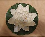 Цветок Лотоса декоративный плавающий большой 27 х27х7 см(водяная лилия) желтый, фото 9