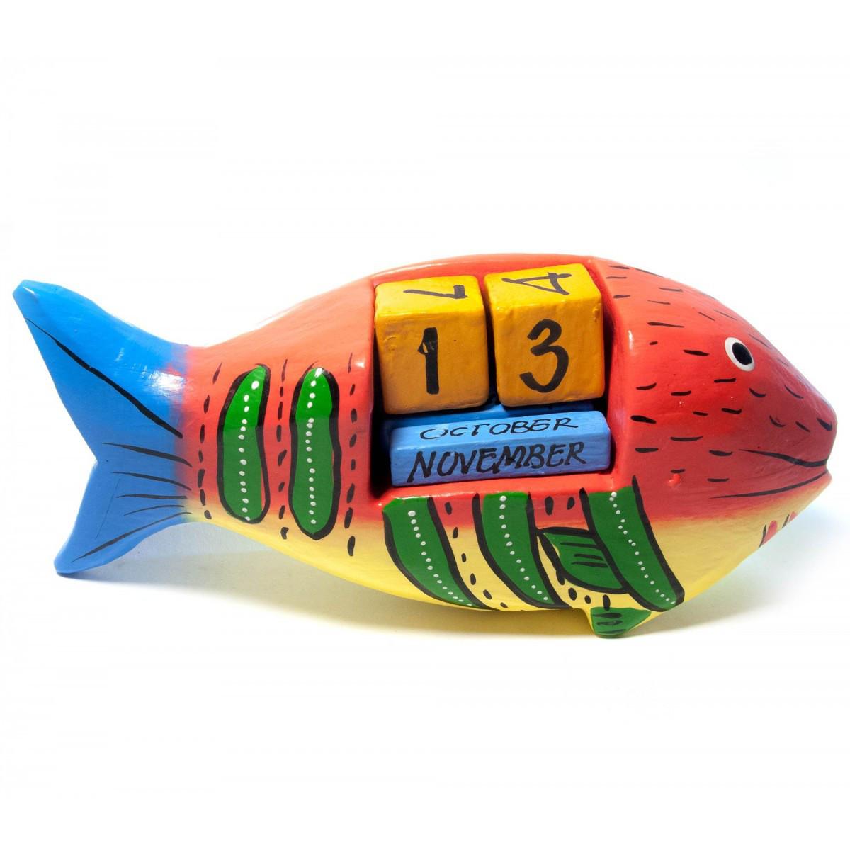 """Календарь настольный """"Рыба"""" дерево 13,5х6х3,5 см 29387"""