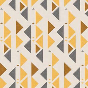 Мебельная ткань Triangle Mustard 371203/101, велюр з принтом