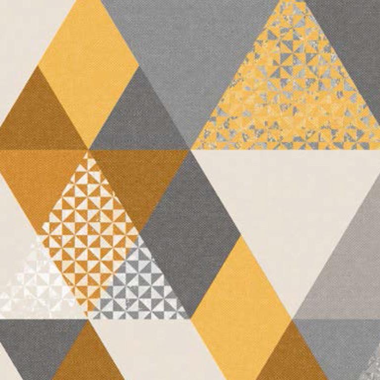 Мебельная ткань Triangle Mustard 371171/101, велюр з принтом
