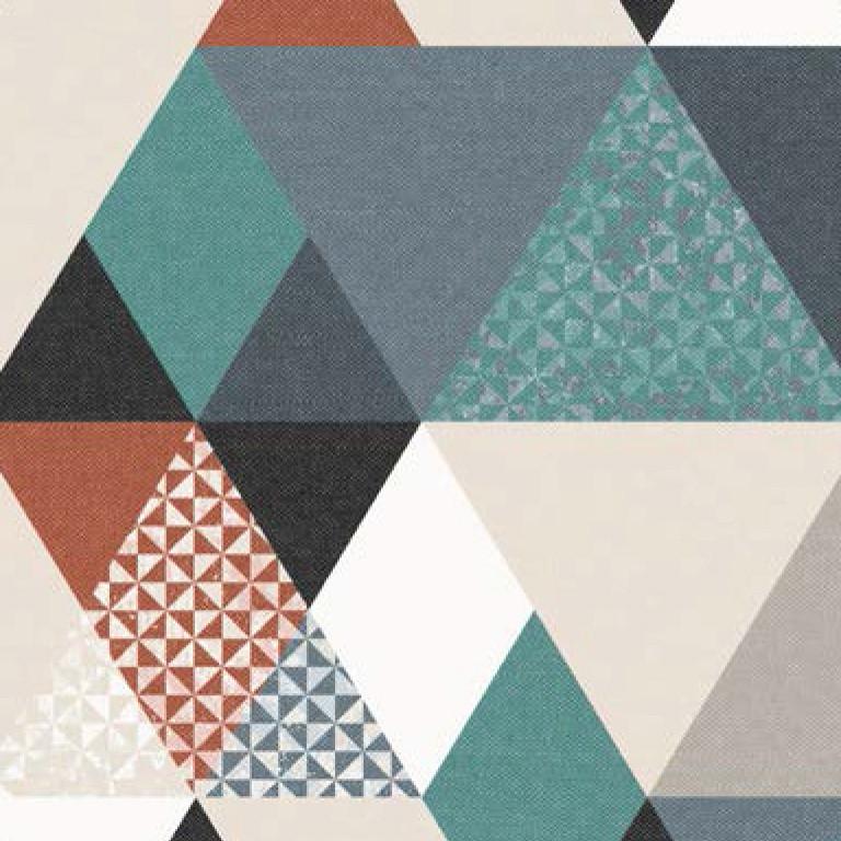 Мебельная ткань Triangle Orange 371171/106, велюр з принтом