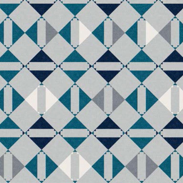 Мебельная ткань Triangle Petrol 371204/102, велюр з принтом