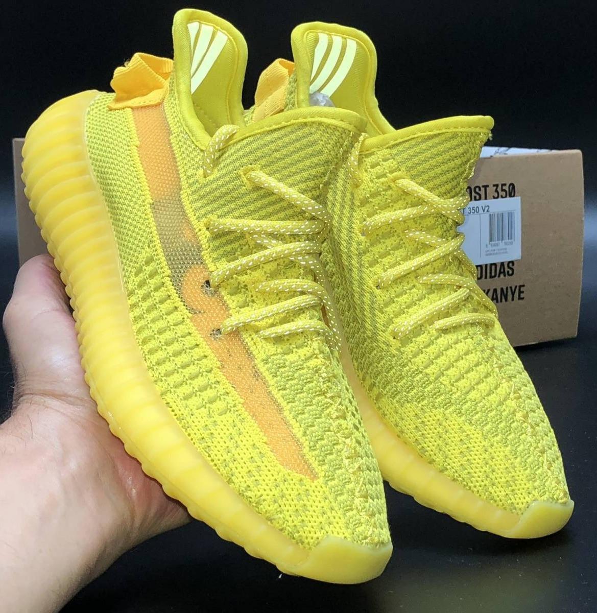 Мужские Кроссовки Adidas Yeezy Boost 350  Yellow (Рефлектив Шнурки)