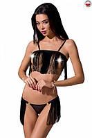 Комплект белья KASSANDRA SET OpenBra black XXL/3XL - Passion Exclusive: лиф из бахромы, трусики-юбка, фото 1