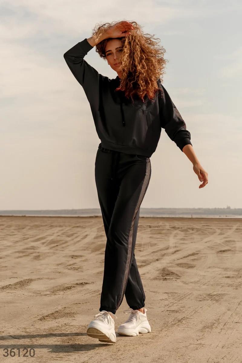 Черный костюм с декоративными вставками S,M,L,XL