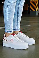 Кроссовки женские белые кожаные Nike Air Force Shadow
