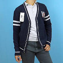 457син Кофта на пуговицах для мальчика синяя тм Mizgin размер 8-9 лет
