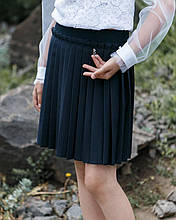Нарядная красивая юбка плиссированная для школы черный и синий цвет