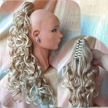 Хвост-шиньон длинный кудрявый на крабе пшеничный блонд 902B-24ВТ613