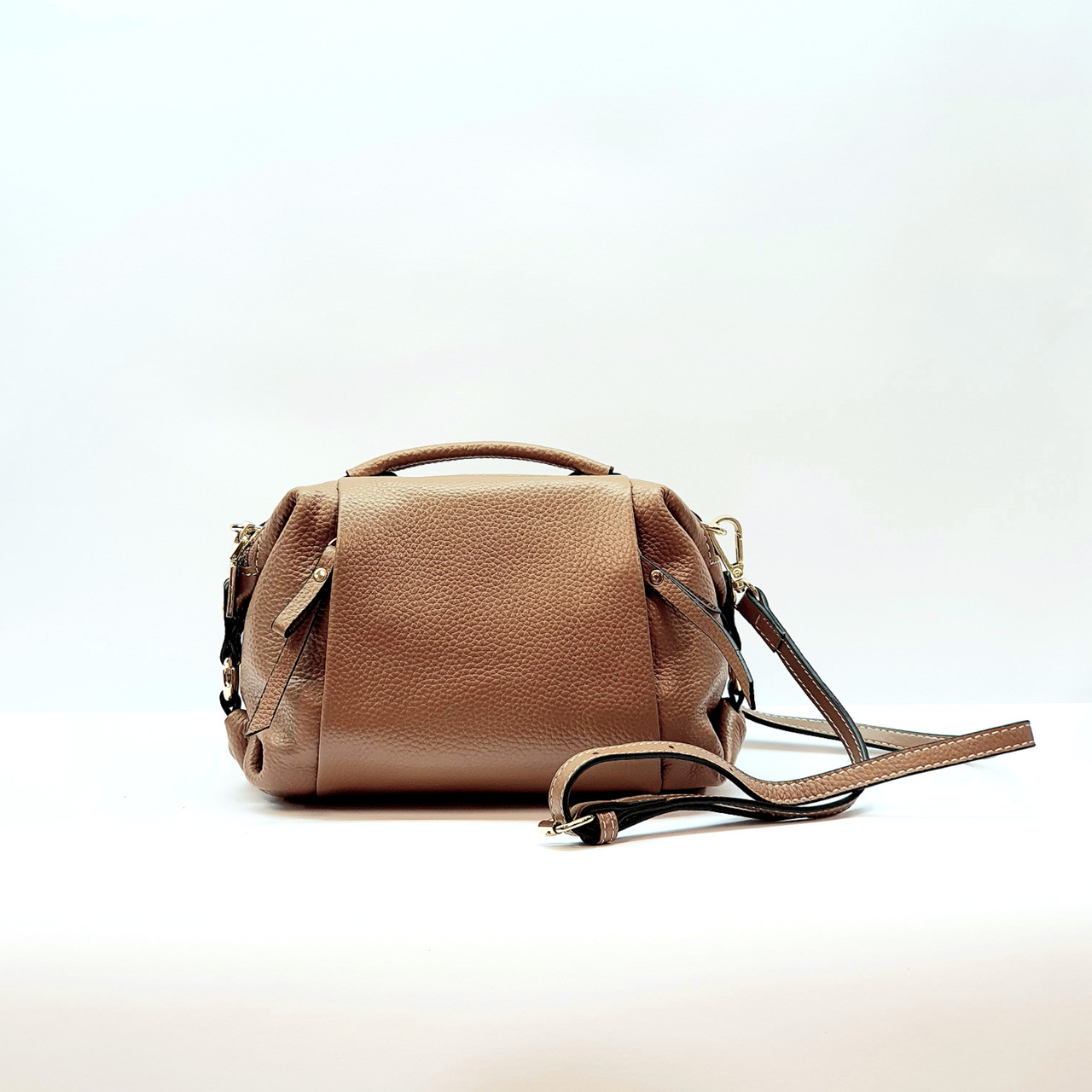 Женская сумка рыжая маленькая повседневная натуральная кожа