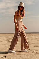 Бежевые брюки со свободным кроем S,M,L,XL