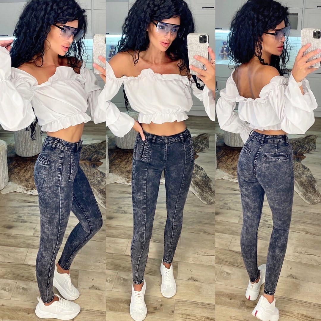 Джинсы женские темно-серые мраморные New jeans 31-501