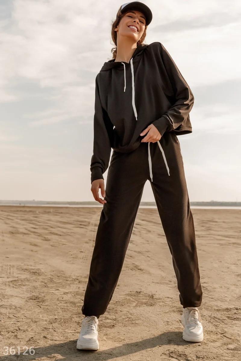 Черный спортивный костюм с oversize худи S,M,L,XL