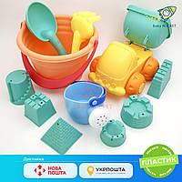 Песочный набор с машиной. Набор детских мягких силиконовых формочек для песка (11 предметов)