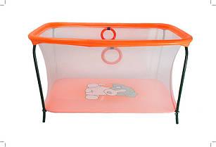 Манеж детский игровой KinderBox люкс Оранжевый собачка с мелкой сеткой (km 5511)