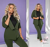 Стильный батальный трикотажный  брючный женский костюм с жилеткой. 4 цвета!, фото 1